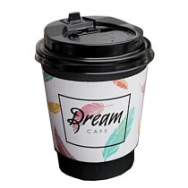 [Dream] Set of 50 Disposable Coffee Cups Paper Cups With Lids Hot Drink Cups