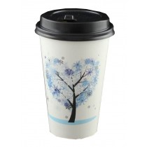 [Tree Blue] Set of 50 Disposable Coffee Cups Paper Cups With Lids Hot Drink Cup