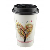[Tree] Set of 50 Disposable Coffee Cups Paper Cups With Lids Hot Drink Cup
