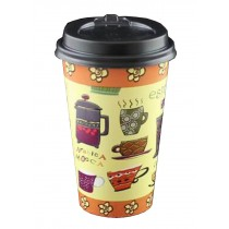 [Yellow] Set of 50 Disposable Coffee Cups Paper Cups With Lids Hot Drink Cup