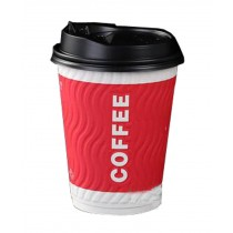 [Wave] Set of 50 Disposable Coffee Cups Paper Cups With Lids Hot Drink Cup