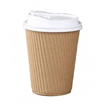 Set of 50 Disposable Coffee Cups Paper Cups With Lids Hot Drink Cup Stripe Khaki