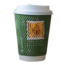 [Stripe] Set of 50 Disposable Coffee Cups Paper Cups With Lids Hot Drink Cup