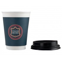 [Blue] Set of 50 Disposable Coffee Cups Paper Cups With Lids Hot Drink Cup
