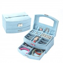 Sweet Elegant Jewelry Box Portable Ornaments Storage Case, Blue