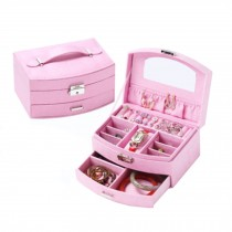 Sweet Elegant Jewelry Box Portable Ornaments Storage Case, Pink