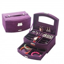 Sweet Elegant Jewelry Box Portable Ornaments Storage Case, Purple