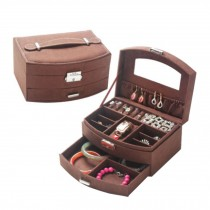 Sweet Elegant Jewelry Box Portable Ornaments Storage Case, Brown