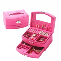 Sweet Elegant Jewelry Box Portable Ornaments Storage Case, Rose