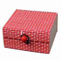 Set of 4 Vintage Novelty Decoration Box Jewelry Soapbox Storage Box Square Red
