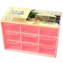 Cheap Office Plastic Desktop Storage Cabinets - 9 Storage Drawer Organizer Pink