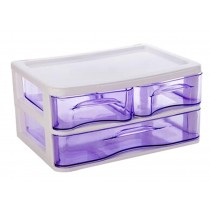 Office Plastic Desktop Storage Drawer Organizer - 3 Storage Cabinets Purple
