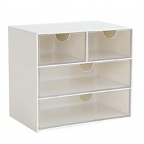 Modern Office Plastic Desktop Storage Drawer Organizer-4 Storage Cabinets White