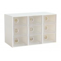 Modern Office Plastic Desktop Storage Drawer Organizer-9 Storage Cabinets White