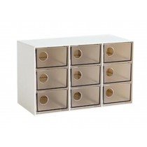 Modern Office Plastic Desktop Storage Drawer Organizer-9 Storage Cabinets Brown