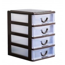 Cheap Office Plastic Desktop Storage Drawer Organizer-4 Storage Cabinets Brown