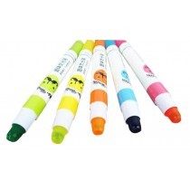 Set Of 5 Cartoon Highlighter Color Marking Crayons Dauber Random Color