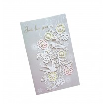 Set of 5 Lovely Creative Greeting Card Elegant Festival Card With Envelope Grey