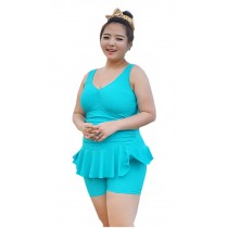 [Spring] New Fashion Women's Plus Size Beach Dresses Plus Size Swimsuits, Green