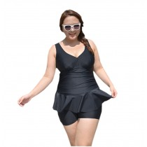 [Solid] New Fashion Women's Plus Size Beach Dresses Plus Size Swimsuits, Black