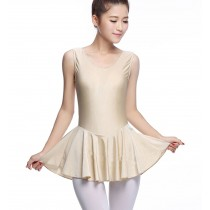 Soft Women's Sleeveless Ballet Dance Leotards FLESHCOLOR, L(Asian Size)
