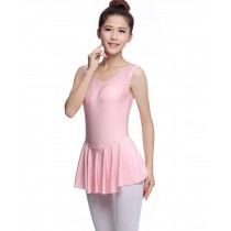 Soft Women's Sleeveless Ballet Dance Leotards PINK, XL(Asian Size)
