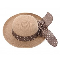 [Dot Coffee] Lady Summer Straw Hat Beach Hat Sun Hat Wide Brim Hat