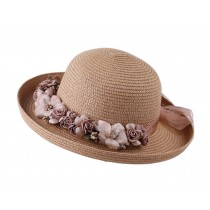 [Flowers Coffee] Summer Straw Hat Beach Hat Sun Hat Wide Brim Hat for Women