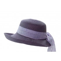 [Purple] Elegant Women Summer Straw Hat Beach Hat Sun Hat Wide Brim Hat