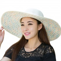 Wide Brim Hat Foldable Hat Colored Dots for Women - Milk White