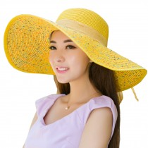 Yellow Color Foldable Ladies Hats Beach Hats for Travel