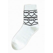 [Three Pairs] Breathable Tube Male Socks Cotton Odor-proof Men Socks, White
