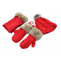[Red]Woman Winter Three sets Of Gloves And Scarf And Hat