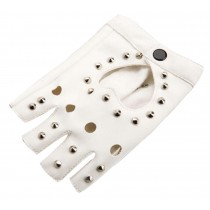 Women Street Dance Club Show Stage Gloves Studded Fingerless Gloves White