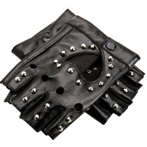 Stage Gloves Street Dance Club Show Studded Fingerless Gloves Gloss Black