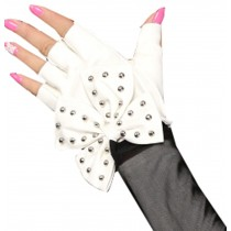 Women Gloves Dance Punk Photography Rivets Fingerless Gloves White Btterfly