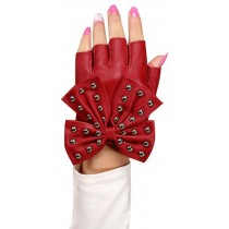 Women Gloves Dance Punk Photography Rivets Fingerless Gloves Red Butterfly