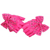 Women Gloves Dance Punk Photography Rivets Fingerless Gloves Pink Butterfly