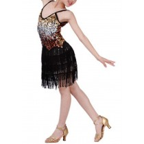 [Shine] Fashion Latin Dance Costumes Girls Latin Costume Performance Dress Black