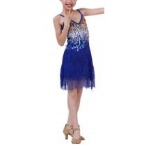 [Star] Blue Fashion Latin Dance Costumes Girls Latin Costume Performance Dress