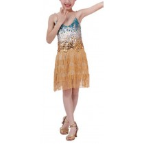 [Bright] Fashion Latin Dance Gold Costumes Girls Latin Costume Performance Dress