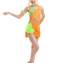 [Little Sun]Girls Latin Costume Performance Dress New Style Tassel Dance Dresses