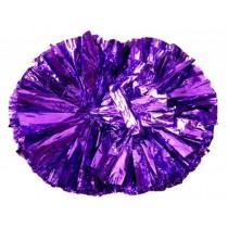 Set of 2 Hand Flower Cheerleaders Pom Poms Dance Ball Purple Handle Props Games