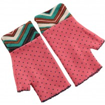 Warmer Winter Fingerless Gloves Thumb Hole Mittens for Women Dot Pink