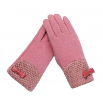 Woman Pretty Warm Winter Gloves Driving Gloves Bow Pink