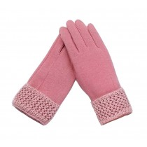 Woman Elegant Warm Winter Gloves Driving Gloves Pink