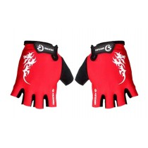 Wicking Sports Gloves Men's Cycling Gloves Half-finger Gloves Red
