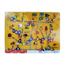 Kids Wooden Toy Preschool Maze Educational Board Game Family Game - Letter