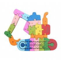 Funny Digital & Letter Wooden Blocks Puzzles Educational Puzzle Excavator