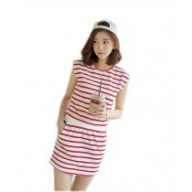 Leisure Dress Red Striped Cotton Dress Patchwork Dress Medium